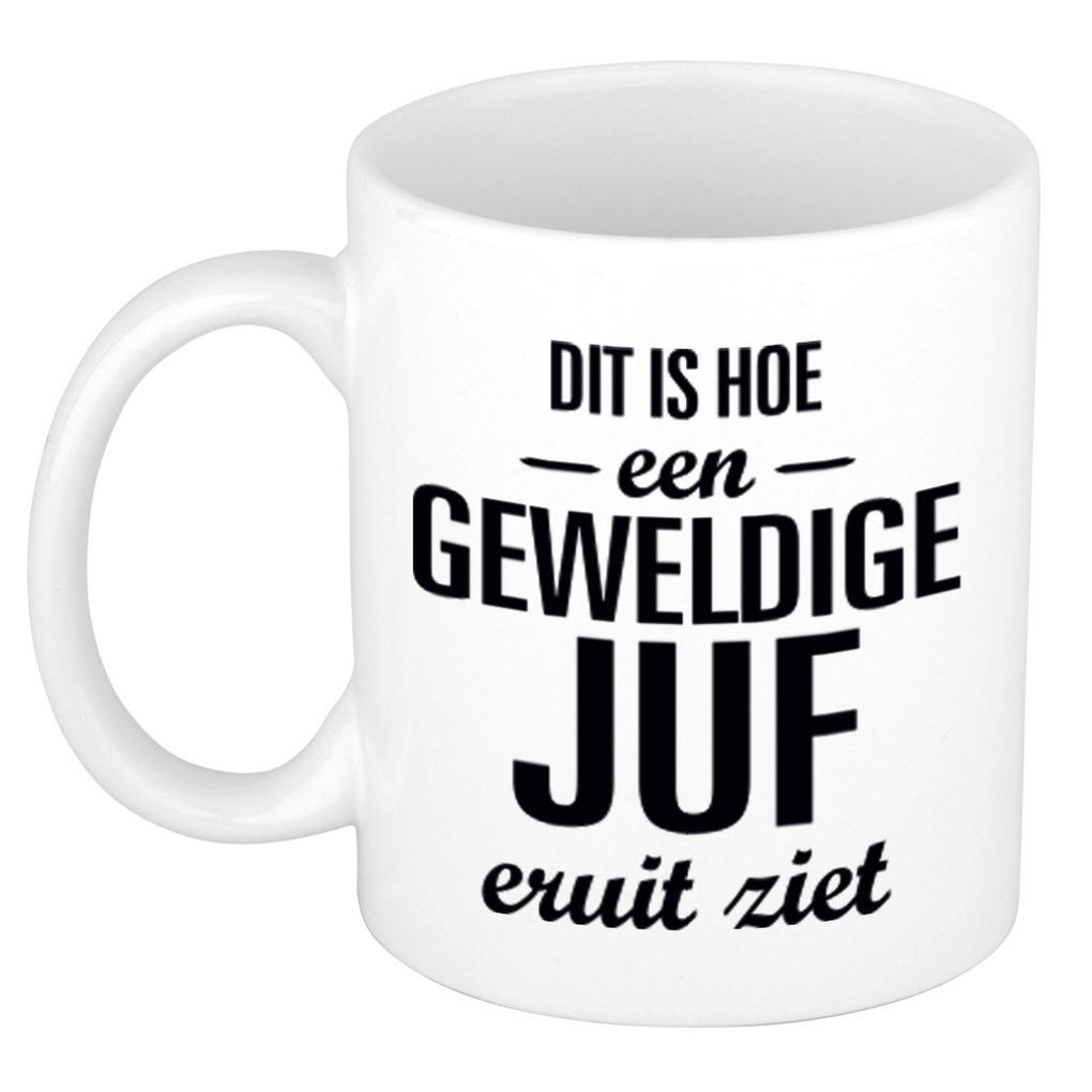 Geweldige juf cadeau koffiemok - theebeker wit 300 ml
