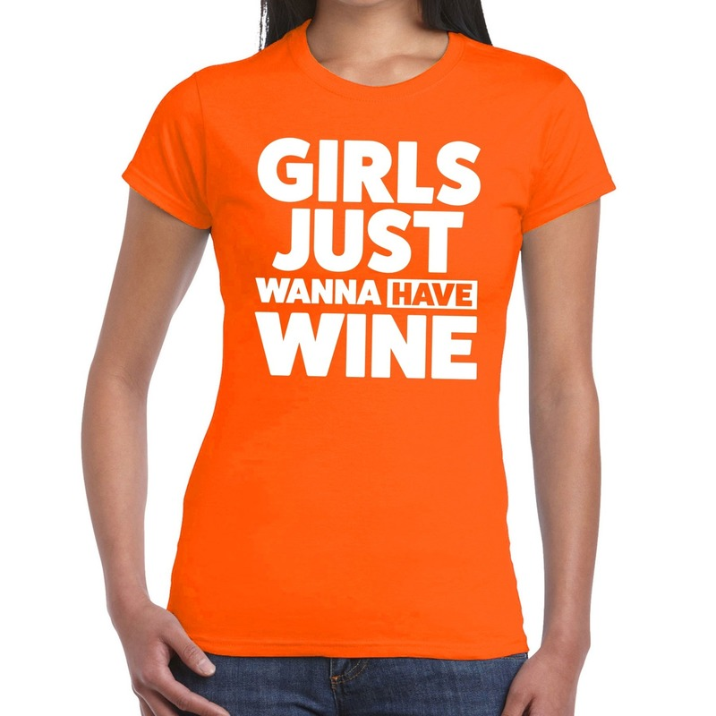 Girls Just Wanna Have Wine tekst t-shirt oranje dames