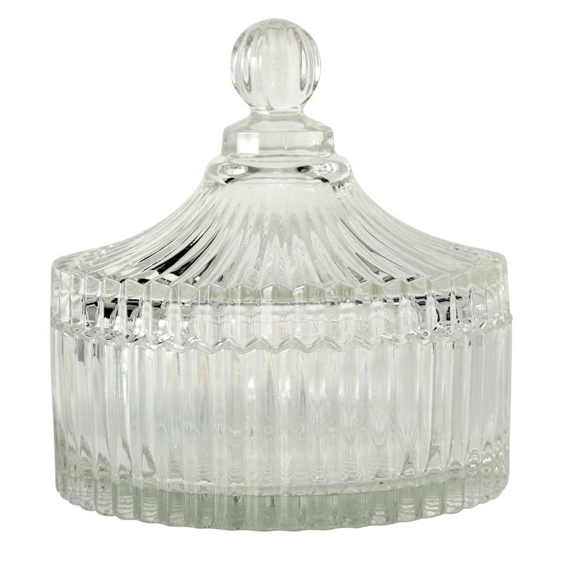 Glazen bonbonniere met deksel 15 cm