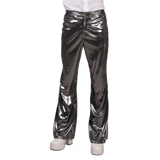 Glimmende zilveren disco broek