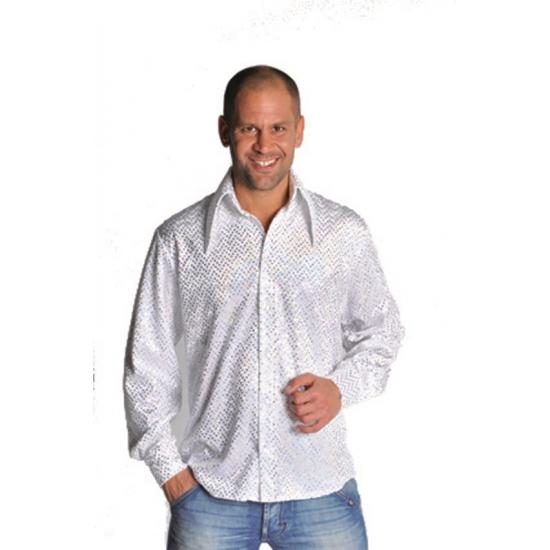 Glitter disco overhemd wit