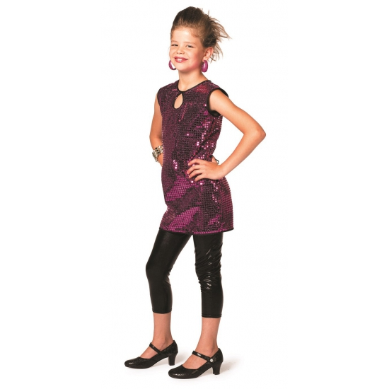 Glitter jurk paars meisjes
