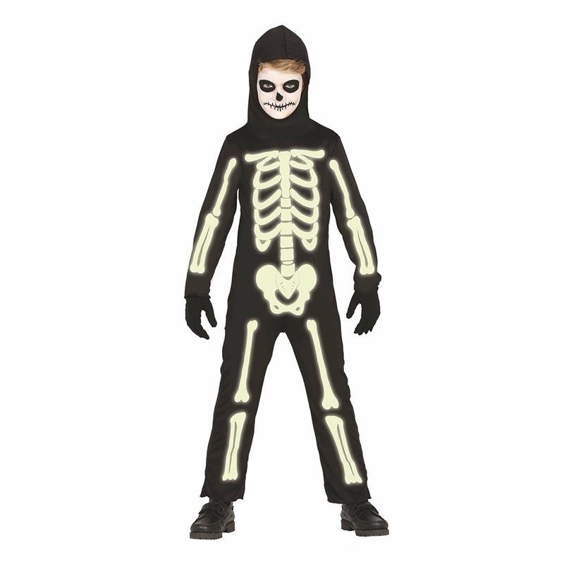 Glow in the dark skelet kostuum voor kids