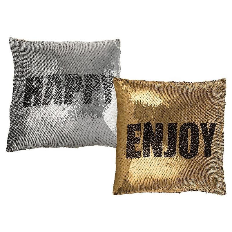 Goud/zilver kussen Enjoy/Happy met omkeerbare pailletten 40 cm