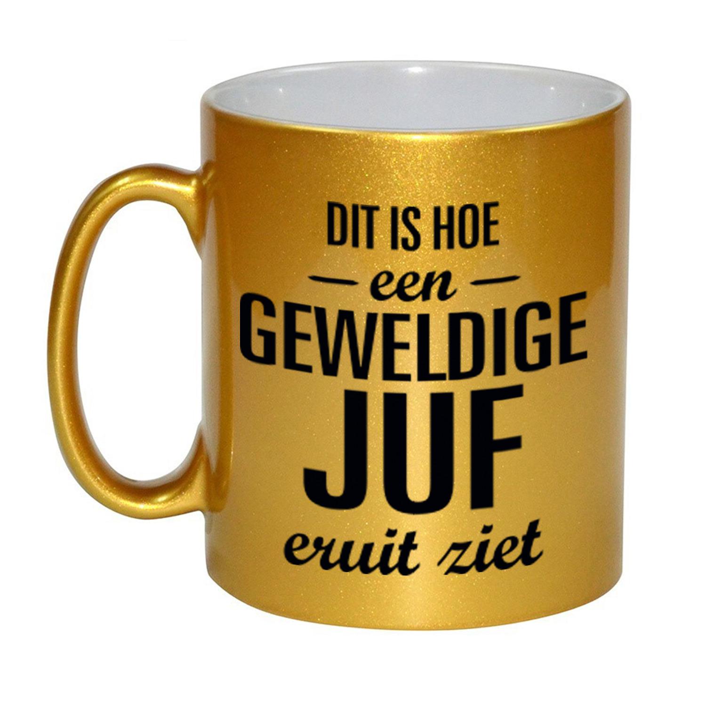 Gouden geweldige juf cadeau koffiemok - theebeker 330 ml