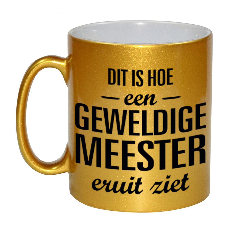Gouden geweldige meester cadeau koffiemok - theebeker 330 ml