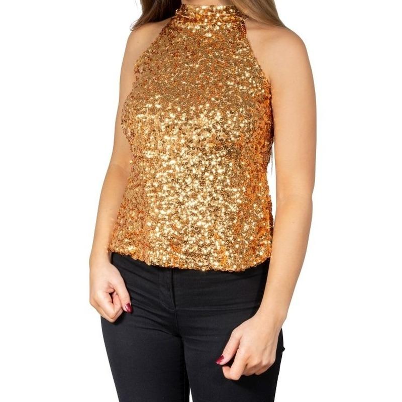 Gouden glitter pailletten disco halter topje/ shirt dames