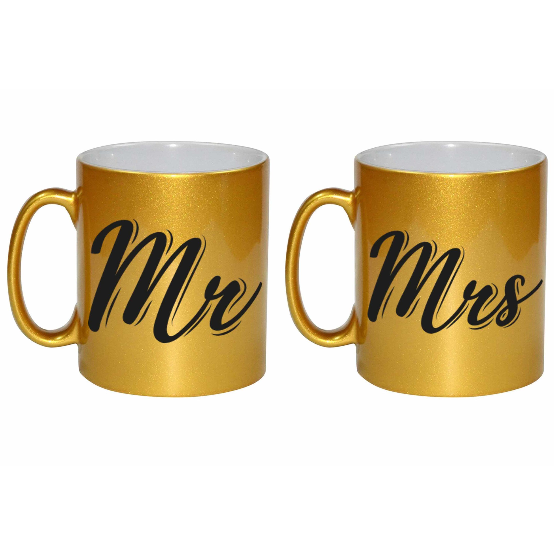 Gouden Mrs en MR cadeau mokken - bekers set voor koppels 330 ml