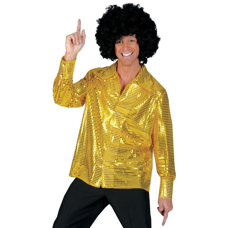 Gouden pailletten blouse heren