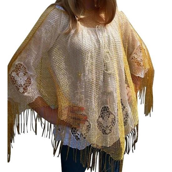 Gouden visnet poncho/ omslagdoek/ stola dames