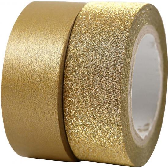 Goudkleurig glitter tape 2 rollen Goudkleurig