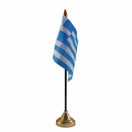 Griekenland tafelvlaggetje 10 x 15 cm met standaard