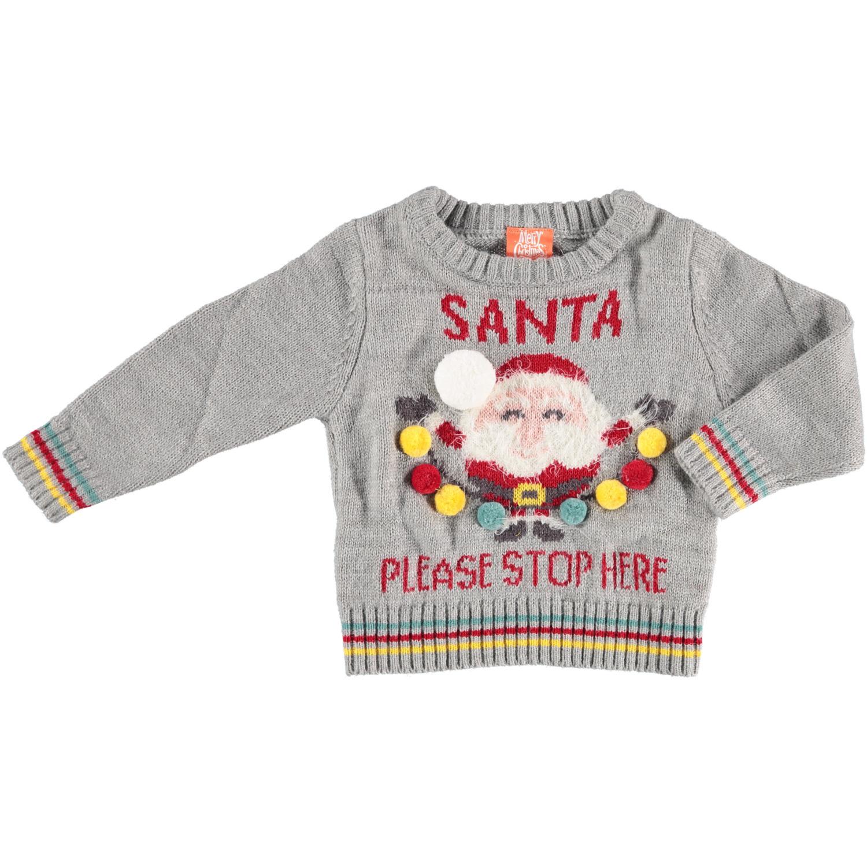 Grijze baby kersttrui/foute kersttrui Santa Please Stop Here 56/62 (1-4 mnd) -