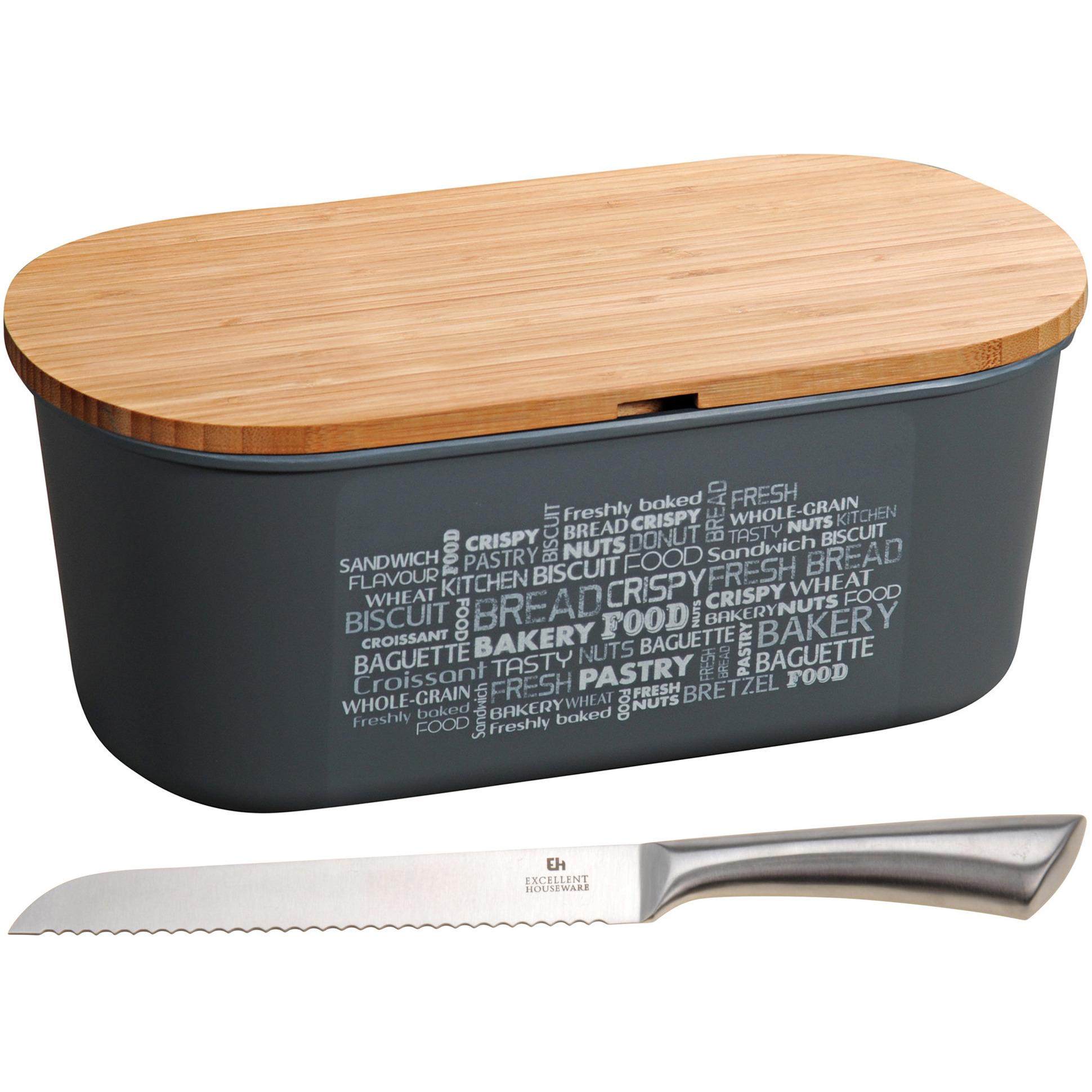 Grijze broodtrommel met snijplank deksel en RVS broodmes 18 x 34 x 14 cm