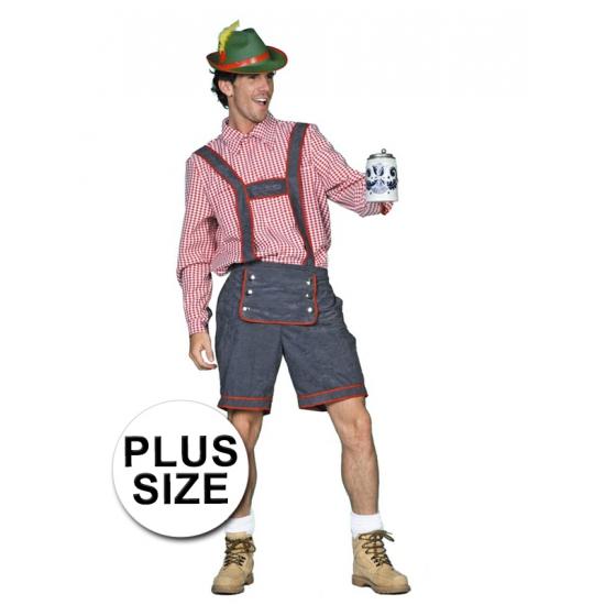 Grijze grote maten Tiroler lederhose verkleed kostuum voor heren