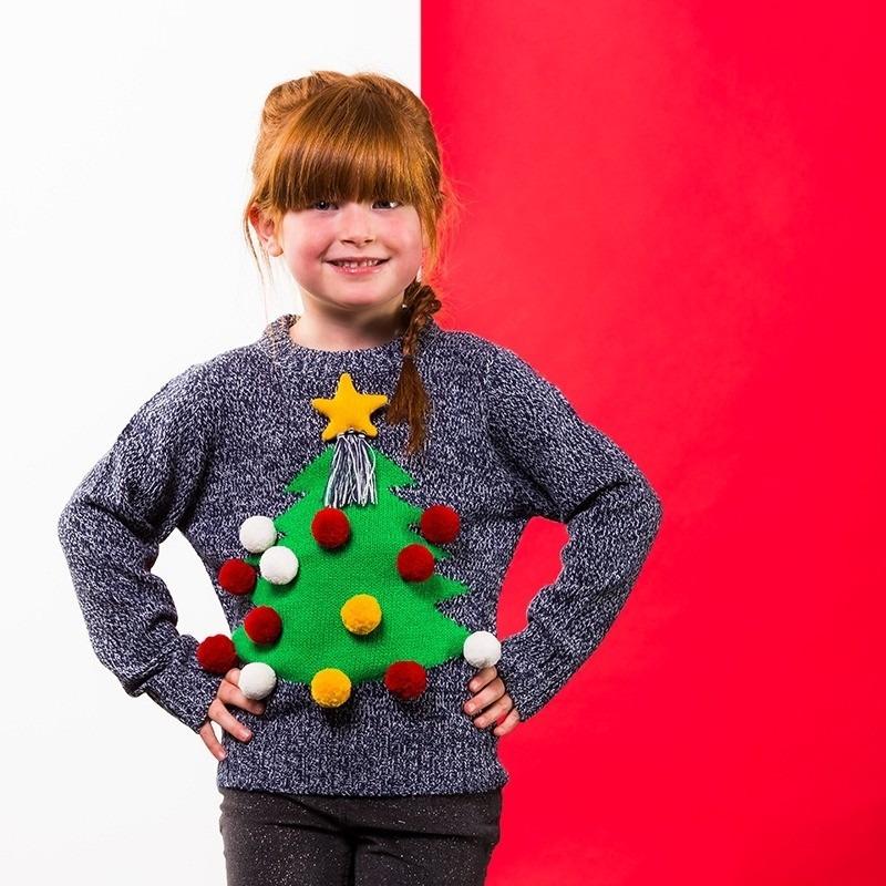 Grijze kerst trui 3D kerstboom voor kinderen 3-4 jaar (104-110) Grijs