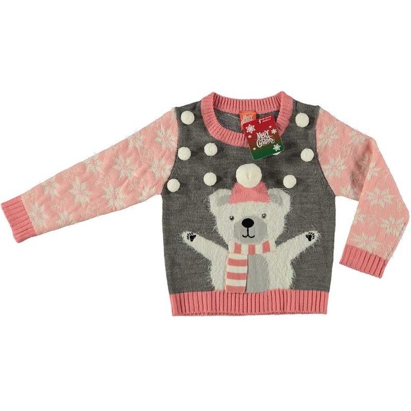 Grijze kersttrui ijsbeer voor meisjes maat 140/146