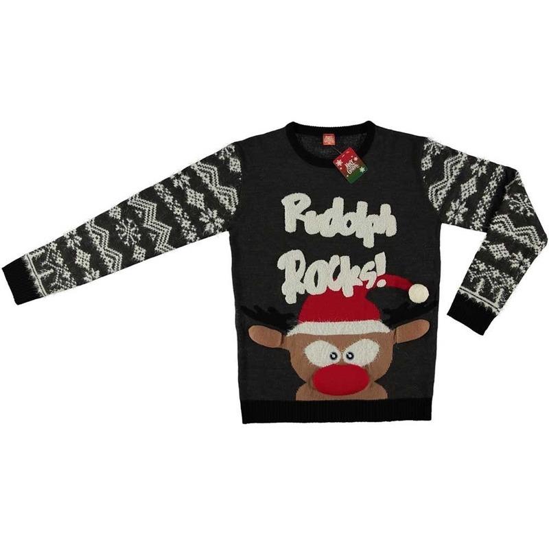 Grijze kersttrui rendier Rudolph voor volwassenen