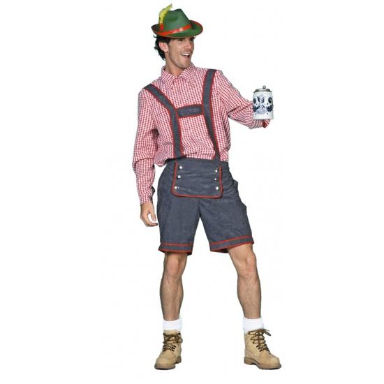 Grijze Tiroler lederhose verkleed kostuum/broek voor heren