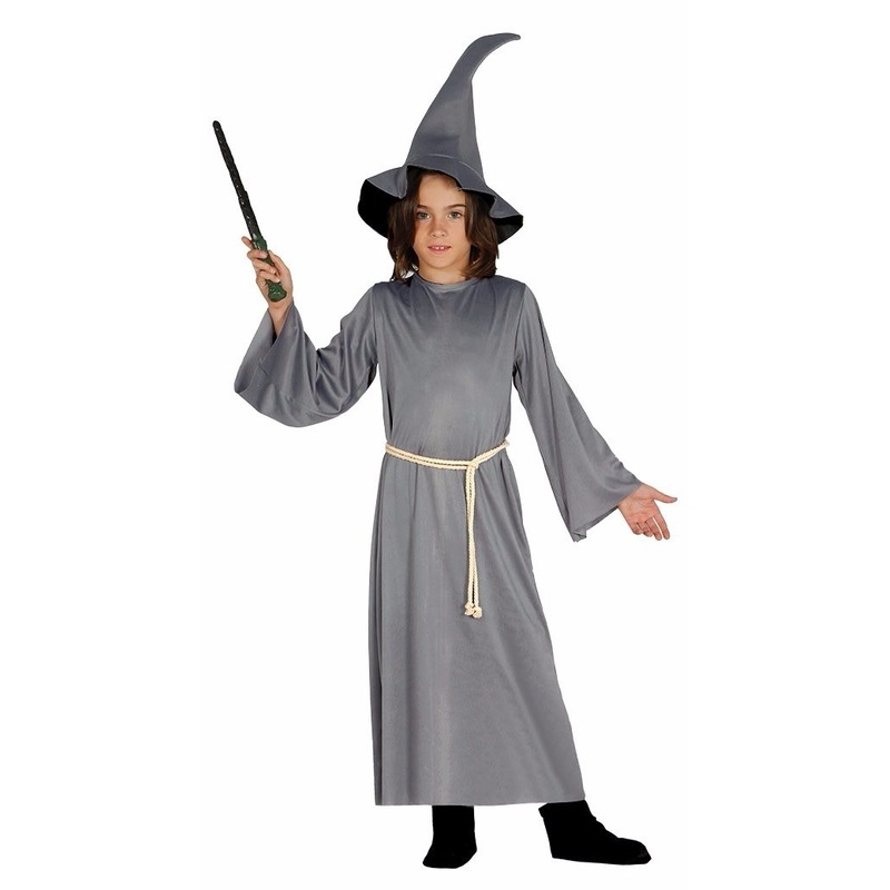 Grijze tovenaars cape voor kinderen