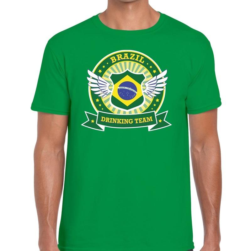 Groen Brazil drinking team t-shirt heren