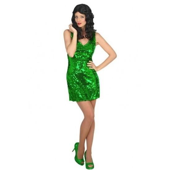 Groen disco verkleed jurkje met pailletten voor dames