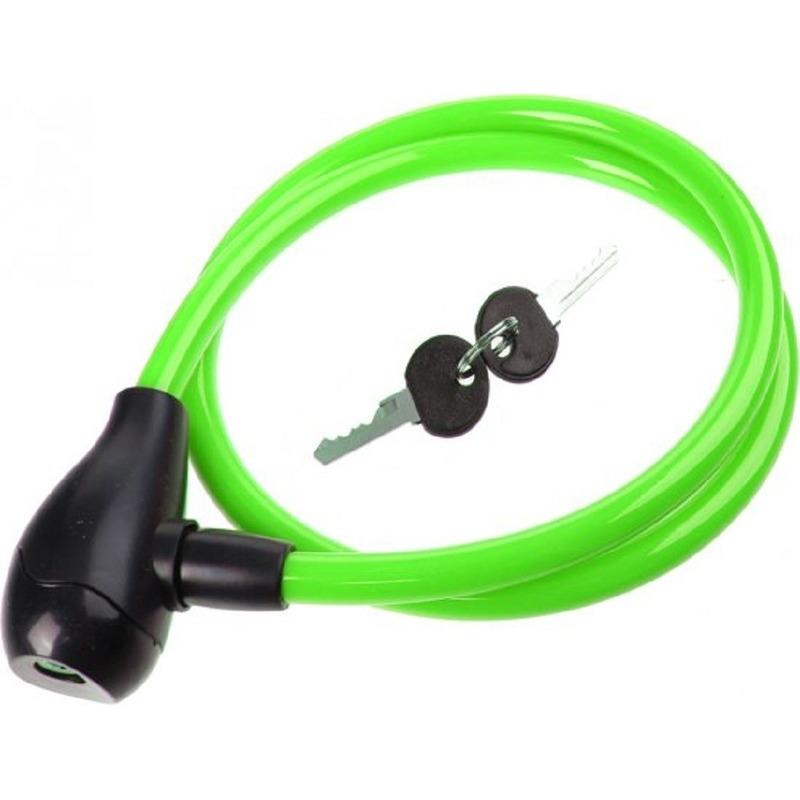 Groen fietsslot-krulkabelslot 100 cm