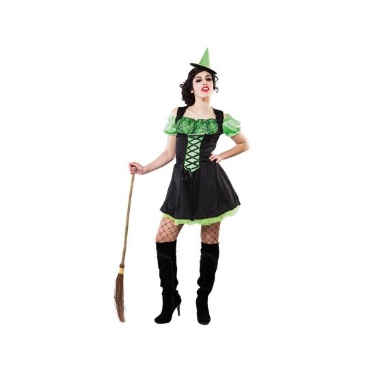 Groen heksenjurkje inclusief hoedje