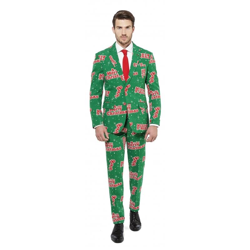 Groen heren kostuum Merry Christmas