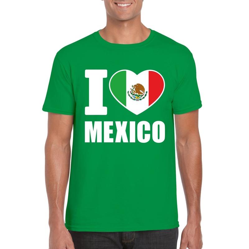 Groen I love Mexico fan shirt heren