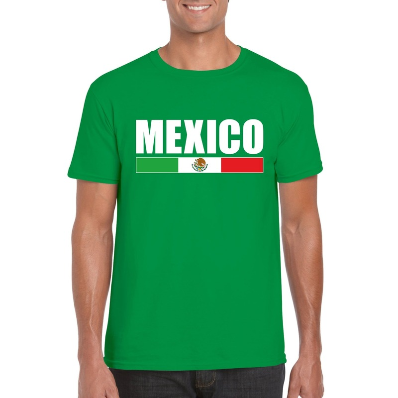Groen Mexico supporter t-shirt voor heren