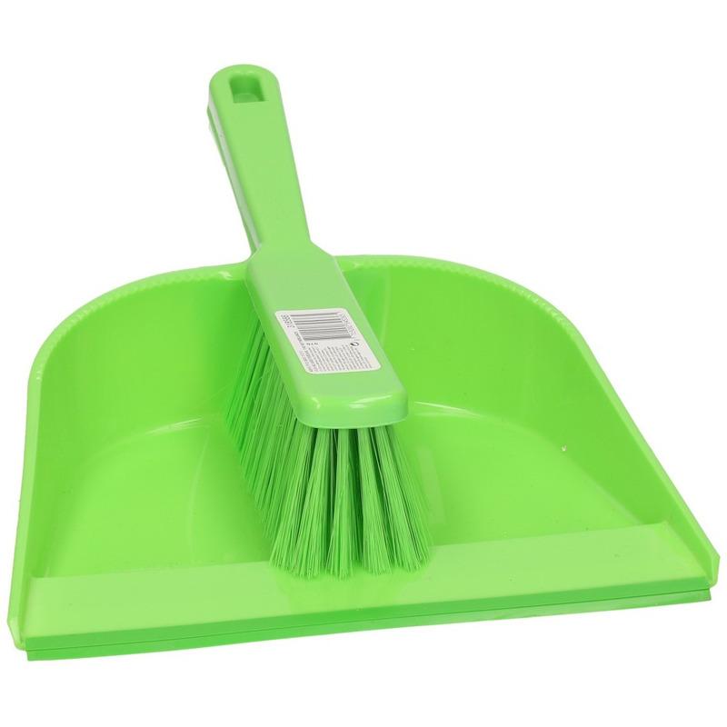 Groen stoffer en blik van plastic 23 cm