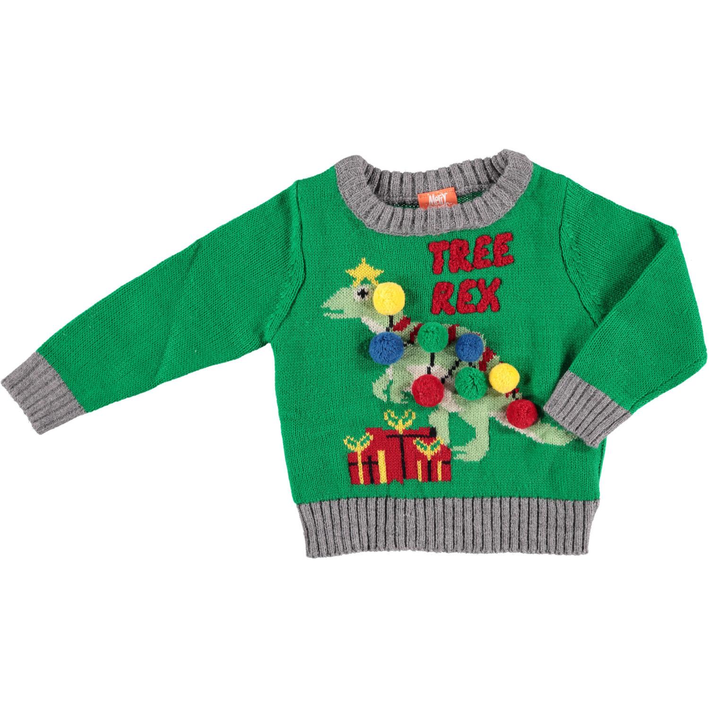Groene baby kersttrui/foute kersttrui Tree-Rex 80/86 (12-24 mnd) -