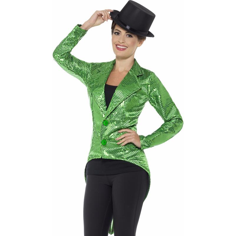 Groene dames slipjas met pailletten