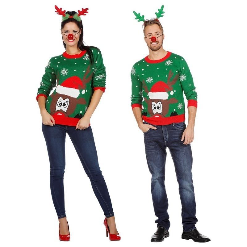 Groene kerst trui met rendier voor volwassenen