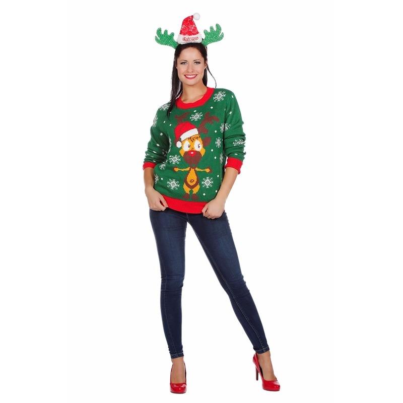 Groene Kersttrui met rendier voor dames - kerst truien