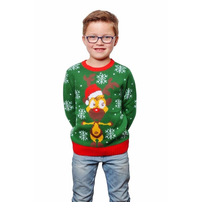 Groene kersttrui met rendier voor kinderen