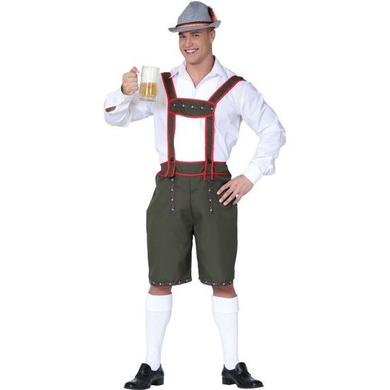 Groene/rode Tiroler lederhosen verkleed kostuum/broek voor heren