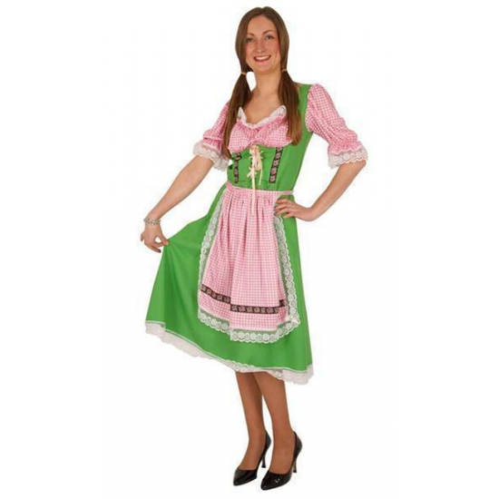 Groene/roze Tiroler dirndl verkleed kostuum/midi jurk voor dames 40 (L) -