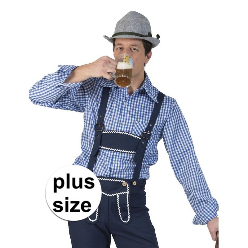 Grote maat blauw/wit geruit tiroler verkleed overhemd voor heren
