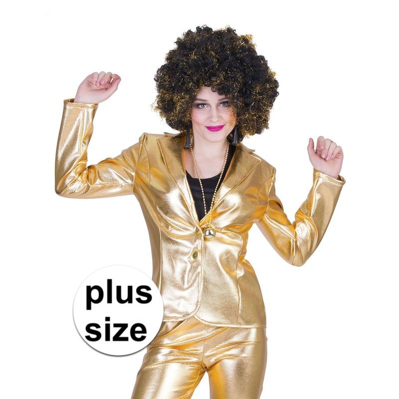 Grote maat gouden disco seventies colbert/jasje voor dames