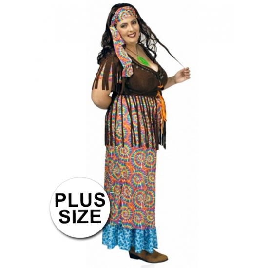 Grote maat hippie verkleed kostuum/jurk voor dames.
