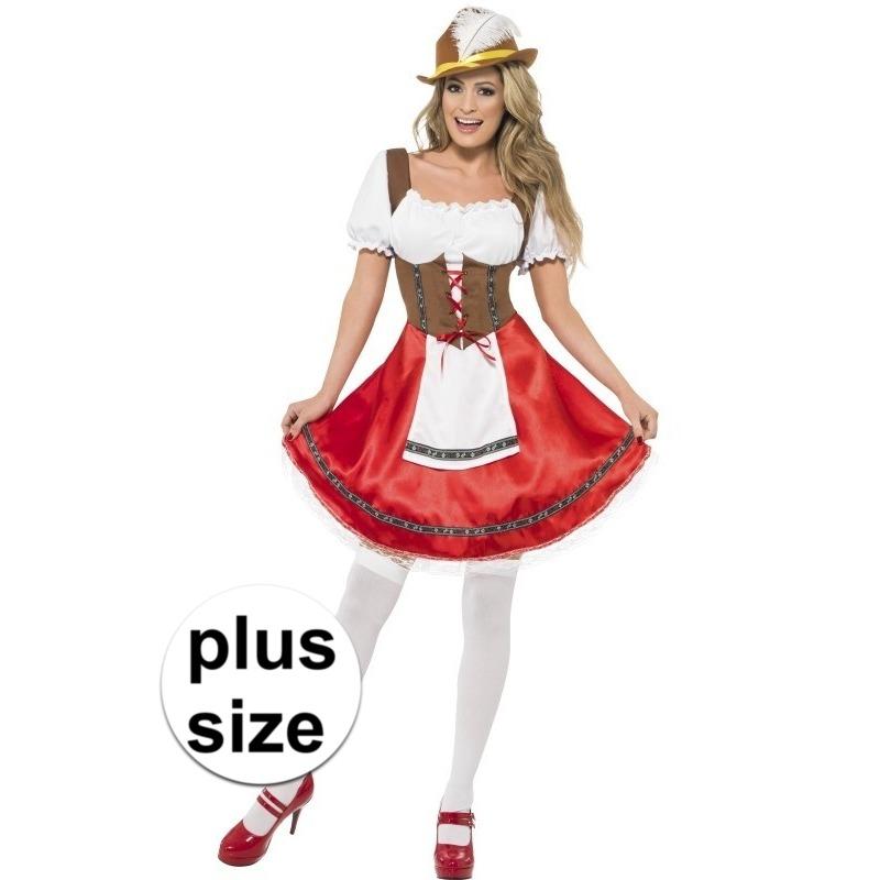 Grote maat rood/bruin Dirndl jurkje voor dames XL