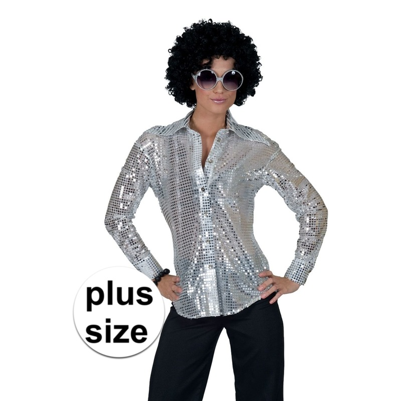 Grote maat zilveren disco verkleed blouse voor dames