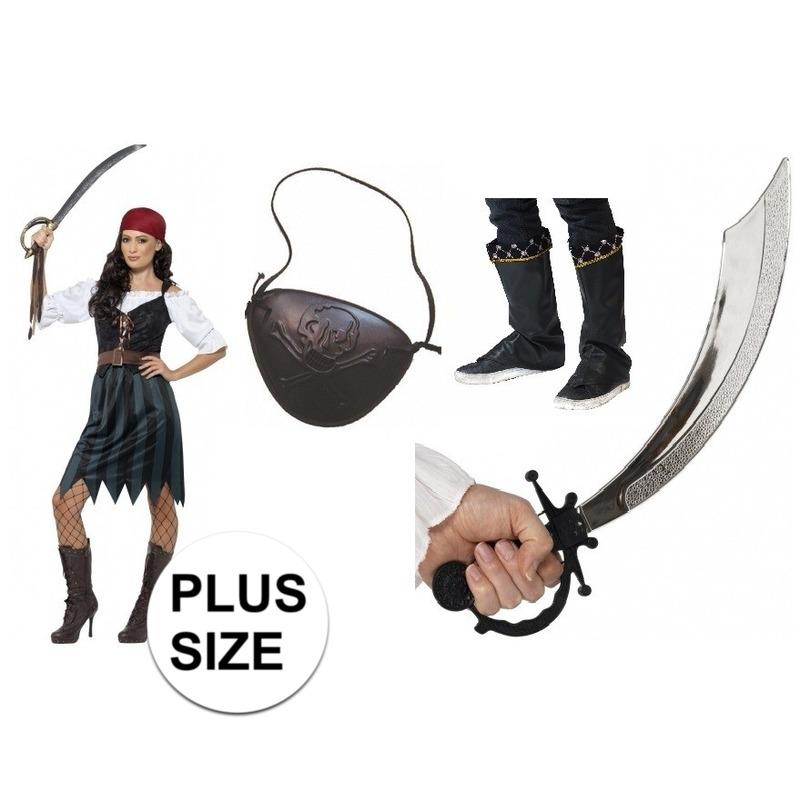 Grote maten compleet piraten kostuum voor dames