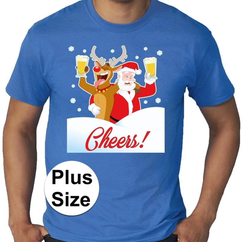 Grote maten fout Kerst shirt Dronken kerstman blauw heren