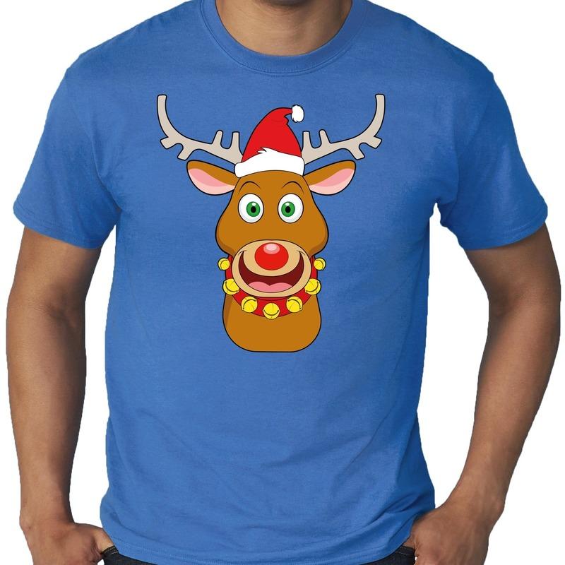 Grote maten fout Kerst shirt Rudolf het rendier blauw heren