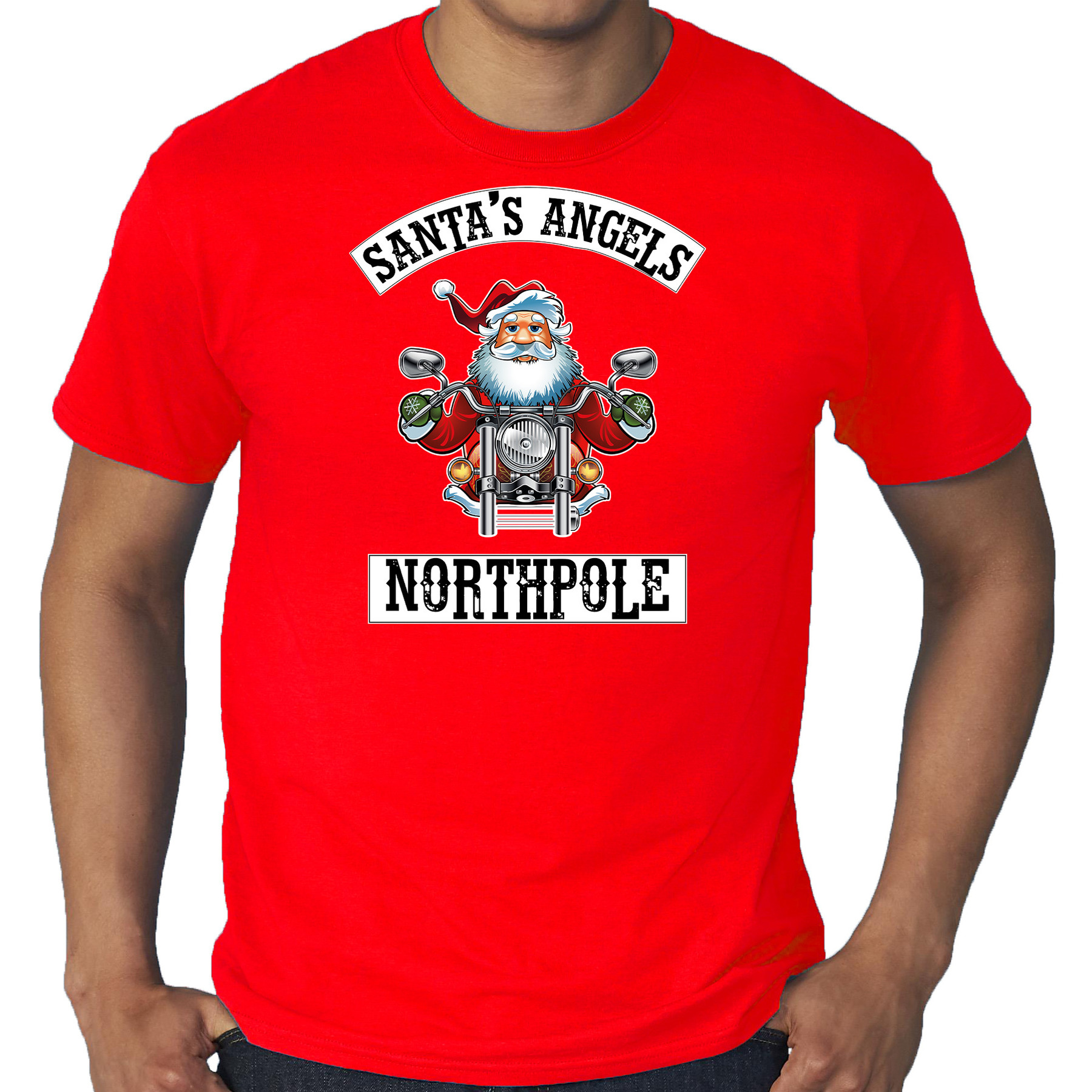 Grote maten fout Kerstshirt - outfit Santas angels Northpole rood voor heren