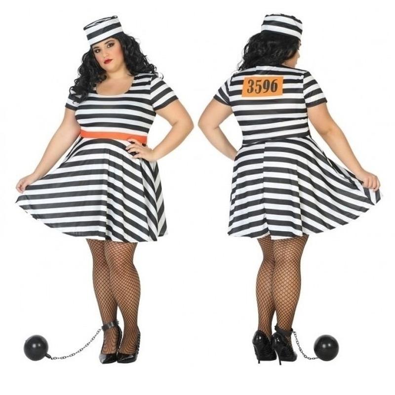 Grote maten gevangene/boef Bonnie verkleed kostuum voor dames