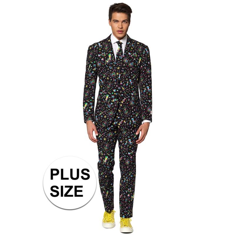 Grote maten heren verkleed pak/kostuum disco print